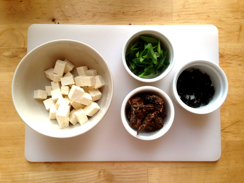 Cubed tofu, dried morel mushrooms, dried wakame, green onions